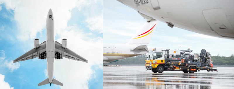 Images of planes and fuel car